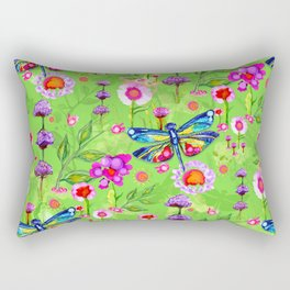 Tropical Dragonfly Garden Rectangular Pillow
