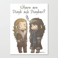 dumb and dumber Canvas Prints featuring Dumb and Dumber by ScottyTheCat