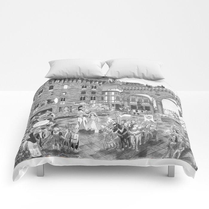 FIRENZE _ PIAZZA DELLA SIGNORIA Black and White Comforters