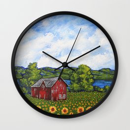 Liz's Sunflowers on Canandaigua Lake by Mike Kraus - art barn farm clouds sky new york ny upstate Wall Clock