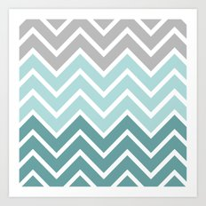 THIN BLUE FADE CHEVRON Art Print