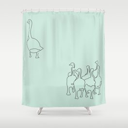Mama Goose and Goslings Shower Curtain