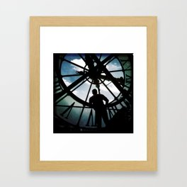 Time with man in silhouette Framed Art Print