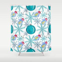 Blue Snowflakes #3 Shower Curtain