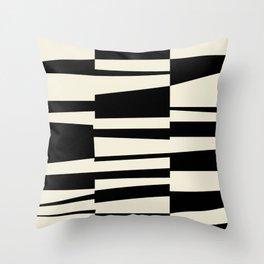 BW Oddities II - Black and White Mid Century Modern Geometric Abstract Throw Pillow