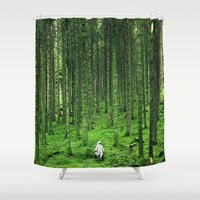 backpack Shower Curtains featuring Green Wood by Kristina Jovanova