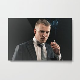 Maffia fashion man smoking a cigarette Metal Print