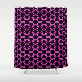 Hot Pink Freeman Lattice on Black Shower Curtain