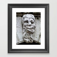 Face on Venetian bridge Framed Art Print
