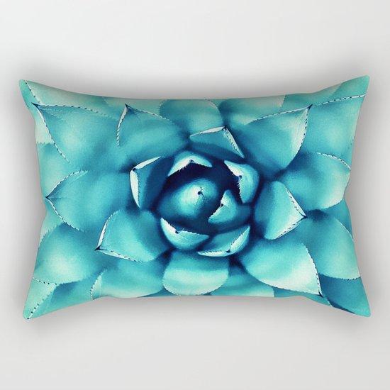 Macro Turquoise Plant Rectangular Pillow