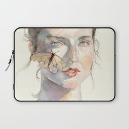 Sunny Day Portrait, Ephemeral Youth, Watercolor Butterfly Laptop Sleeve