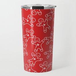 Sweet Red White Christmas Ginger Bread Man Travel Mug