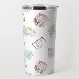Book Nerd! Watercolor Pattern Illustration of Books & Tea Travel Mug
