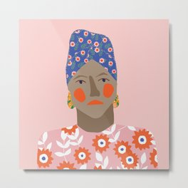 Girl with patterned african headscarf Metal Print