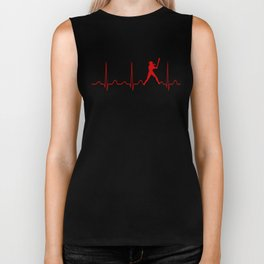 SOFTBALL WOMAN HEARTBEAT Biker Tank