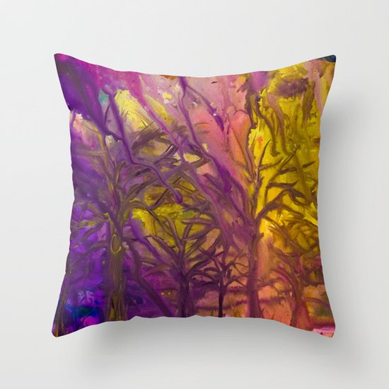 Psychedelic Forest Fire Throw Pillow