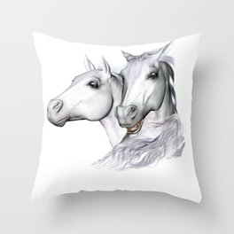 White Horses of the Camargue Throw Pillow