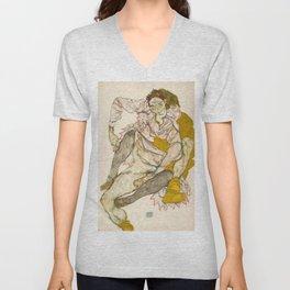 """Egon Schiele """"Seated Couple"""" Unisex V-Neck"""