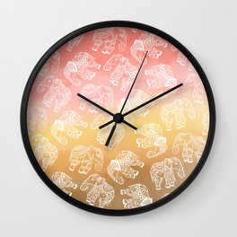 Paisley floral lace elephants illustration pink brown boho watercolor Wall Clock