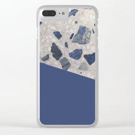 Terrazzo Texture Dark Blue #2 Clear iPhone Case