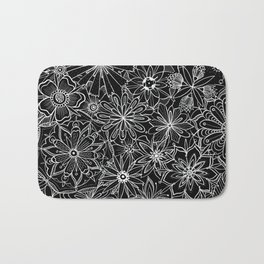 Floral Pattern Black and White Bath Mat
