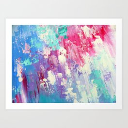 Pink and Blue Abstract Art Print