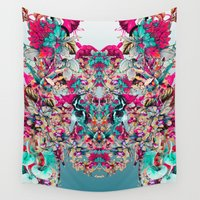 botanical Wall Tapestries featuring Botanical Blue by RIZA PEKER