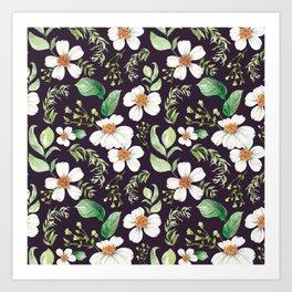 Modern purple green white watercolor daisies floral Art Print