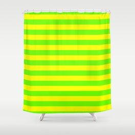 Super Bright Neon Yellow and Green Horizontal Beach Hut Stripes Shower Curtain