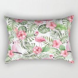Watercolor Tropical Leaves Flowers Flamingo Cockatoo Rectangular Pillow