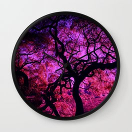 Under the Tree in Pink and Purple Wall Clock