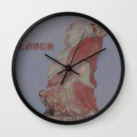 buddah Wall Clocks featuring Laughing Buddah by Heidi Fairwood
