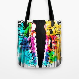 Urban light and LACMA, USA with colorful painting abstract in blue pink green red yellow Tote Bag