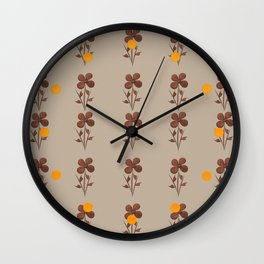 Copper Linen Floral Pattern Wall Clock