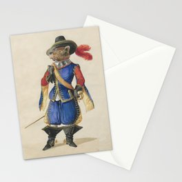 Musketeer Dog Color Drawing - French - Hat Stationery Cards