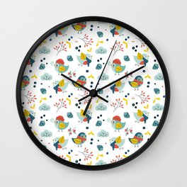 winter birds pattern Wall Clock
