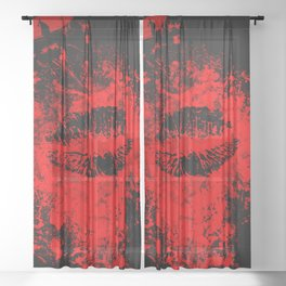 Gothic Bloody Kiss Sheer Curtain