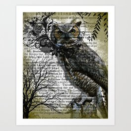 Nature Series Wise Owl By Moon Willow Designs Art Print