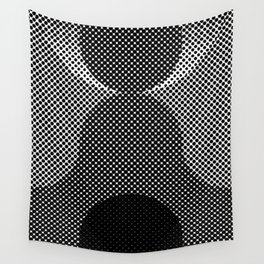 Shadows, mountains, a big eye, all made out of small dots. Black and white. Wall Tapestry
