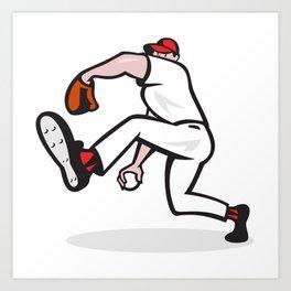 Baseball Pitcher Throwing Ball Cartoon Art Print