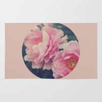 peonies Area & Throw Rugs featuring Peonies  by Kameron Elisabeth