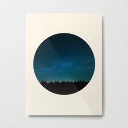 Forest Silhouette Against Milky Way Blue Star Sky Metal Print