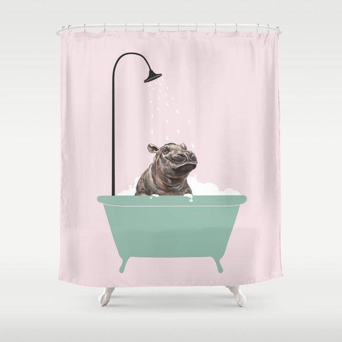 Hippo Enjoying Bubble Bath Shower Curtain