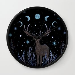 Deer in Winter Night Forest Wall Clock