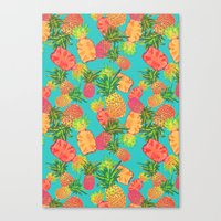 pineapples Canvas Prints featuring Pineapples by Laura Barnes