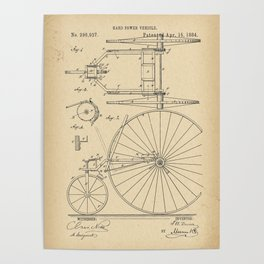 1884 Patent Velocipede Tricycle Bicycle archival history invention Poster