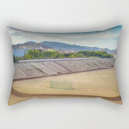 A football field on the mountains on the background A quiet and beautiful place for a football game Rectangular Pillow