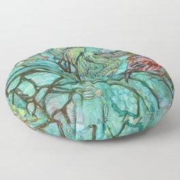 The Aquamarine Labyrinth (detail no. 2) Floor Pillow