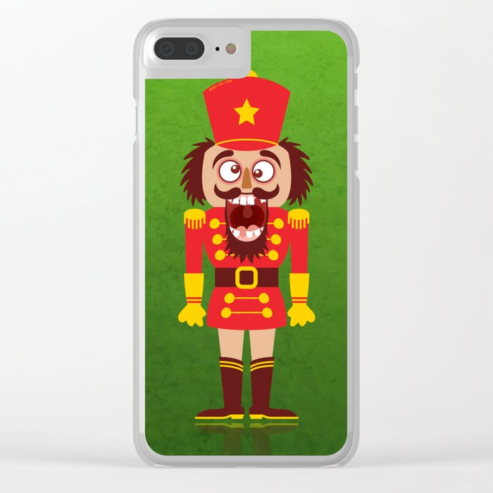 A Christmas nutcracker breaks its teeth and goes nuts Clear iPhone Case