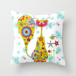 A Cat an the little Bee Throw Pillow